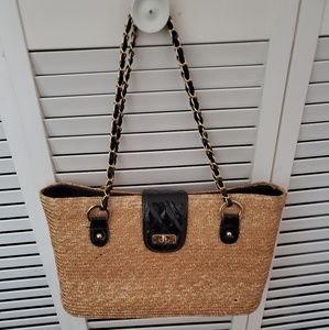 Straw Bag  black and gold chain handles